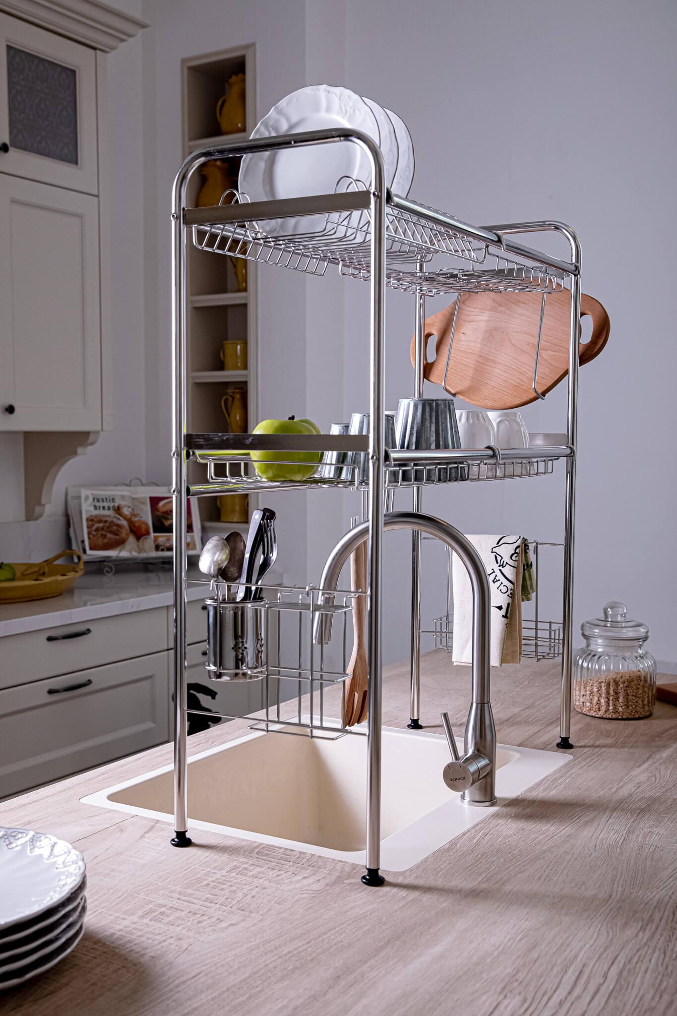 מתקן לייבוש כלים מעל הכיור שתי קומות (6)